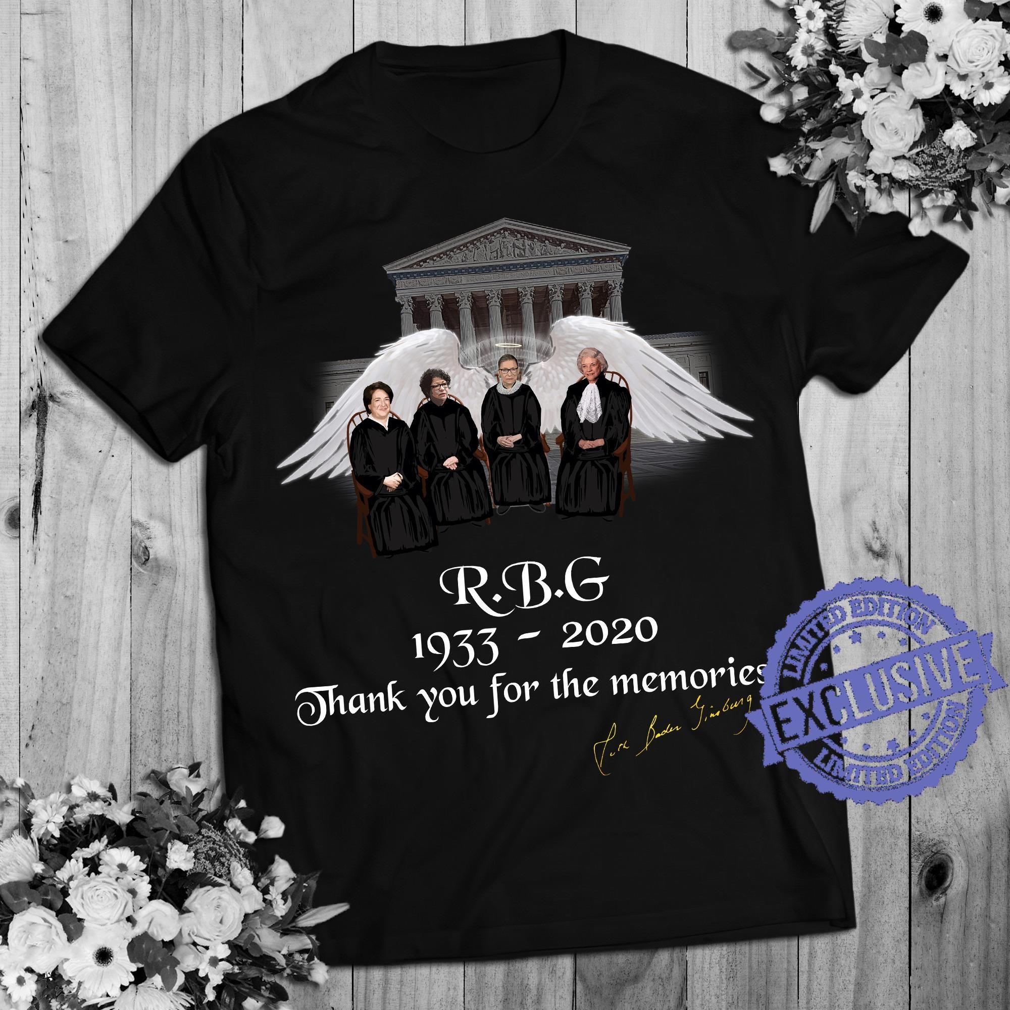 Rbg 1933 2020 thank you for the memories shirt