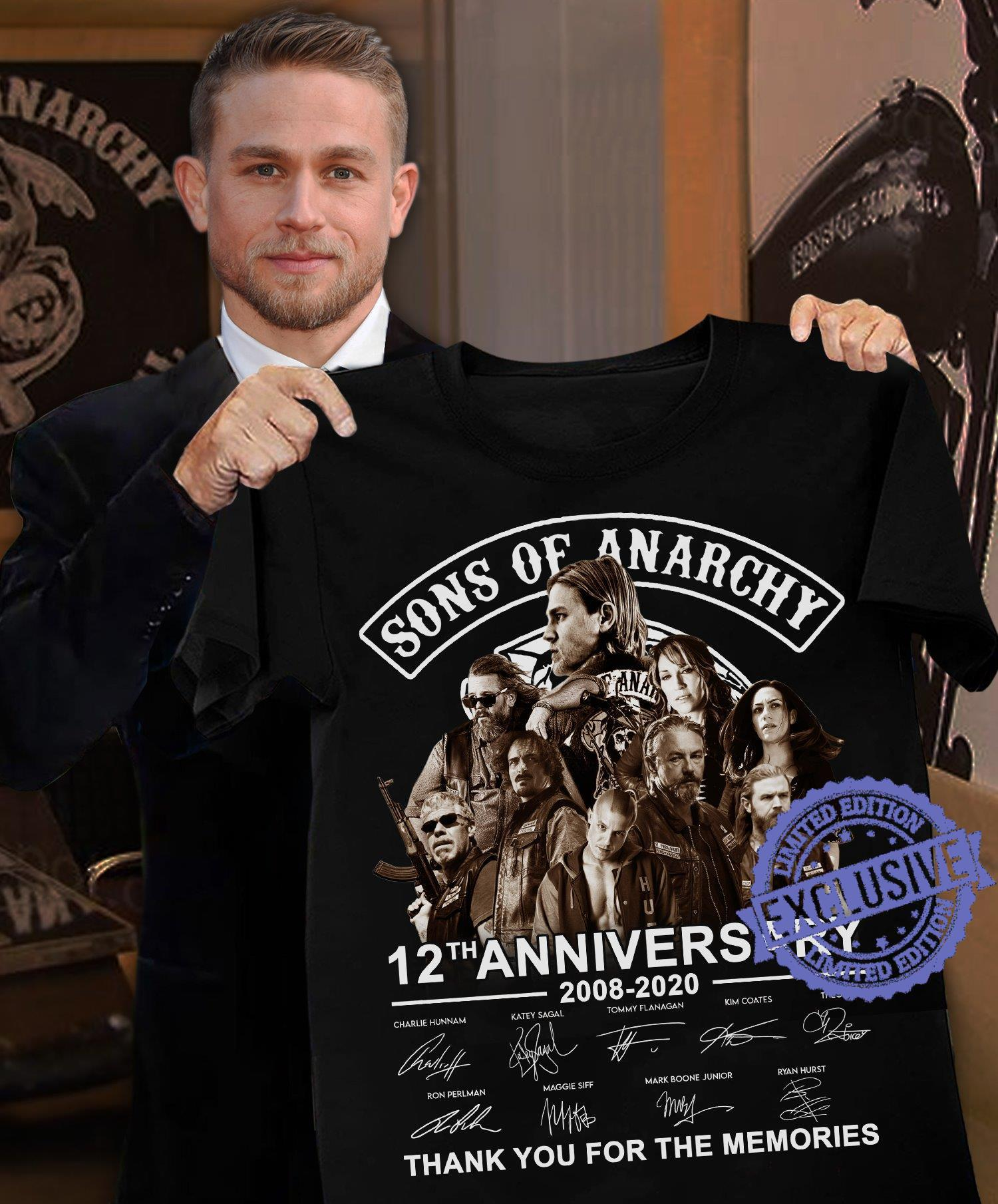 Sons of anarchy 12th anniversary thank you for the memories shirt